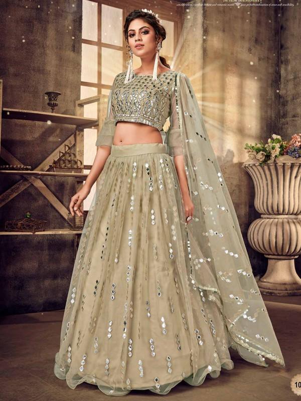 Pist Green Colour Designer Lehenga Choli in Net Fabric.