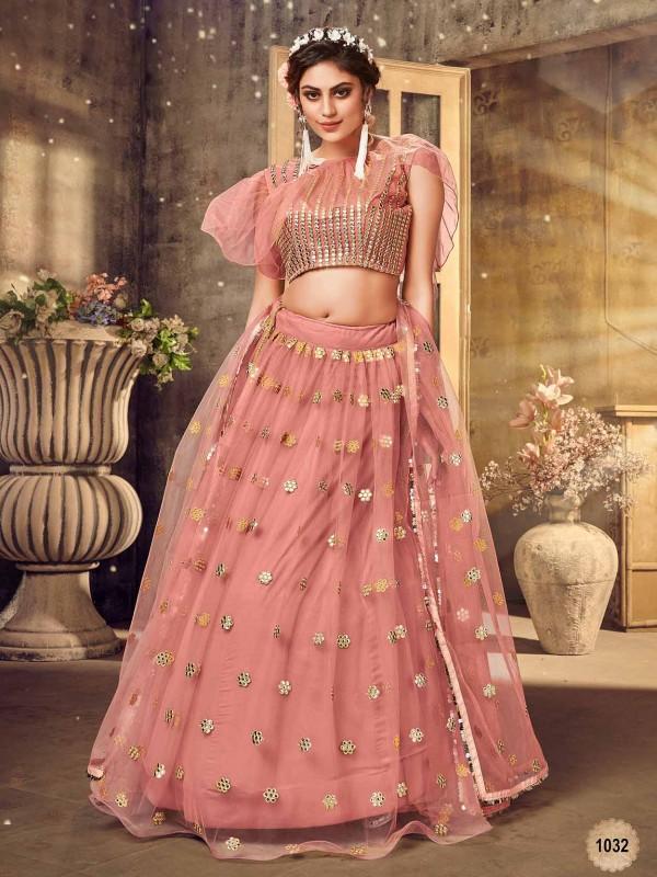 Pink,Peach Colour Net Party Wear Lehenga Choli.