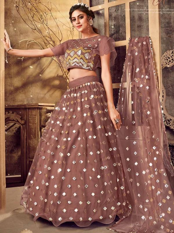 Rust Colour Indian Designer Lehenga.