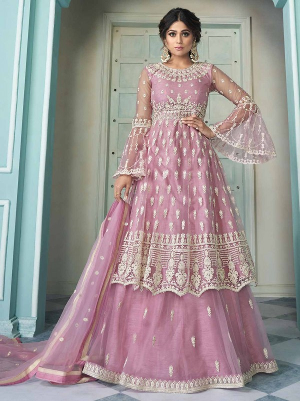 Pink Colour Net Designer Bollywood Salwar Kameez.