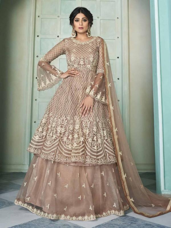 Net Anarkali Salwar Kameez Rust Colour.