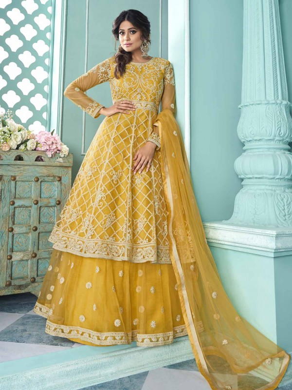 Yellow Colour Designer Anarkali Salwar Kameez.