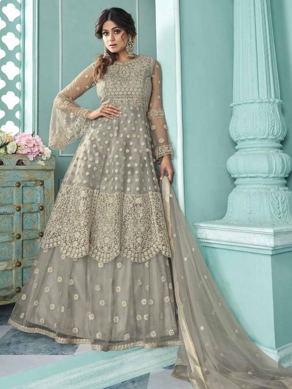 Grey in Net Designer Salwar Suit in Zari,Embroidery Work.