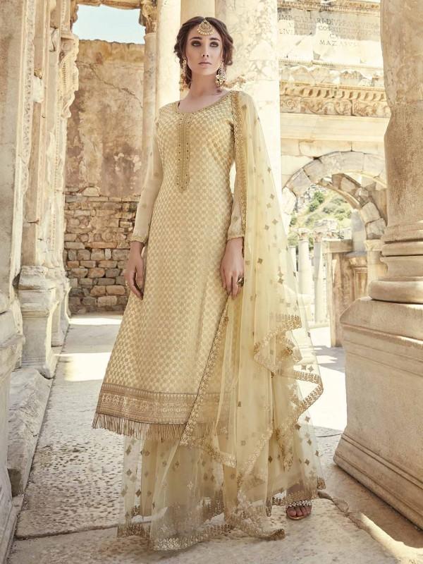 Golden Colour Indian Designer Salwar Suit in Georgette,Net Fabric.