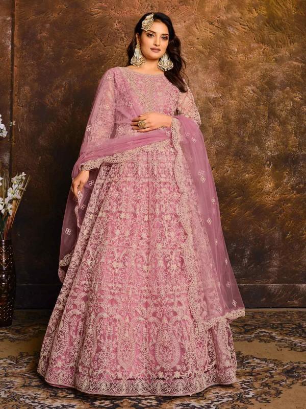 Pink Colour Net Anarkali Salwar Kameez.