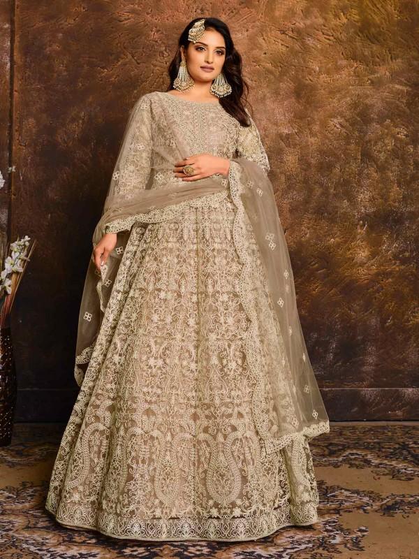 Beige in Net Designer Anarkali Salwar Suit with Thread,Embroidery Work.