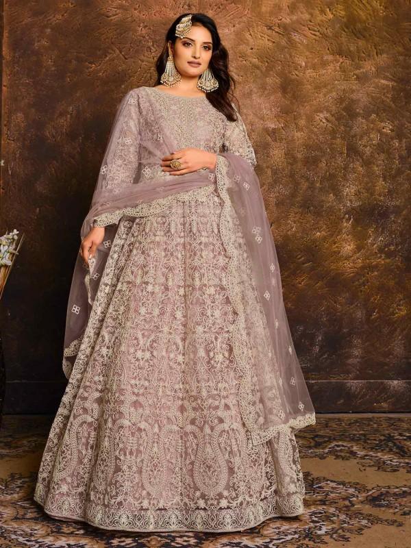 Net Anarkali Salwar Kameez in Light Purple Colour.