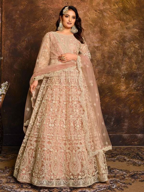 Peach Colour Net Fabric Women Anarkali Salwar Kameez.
