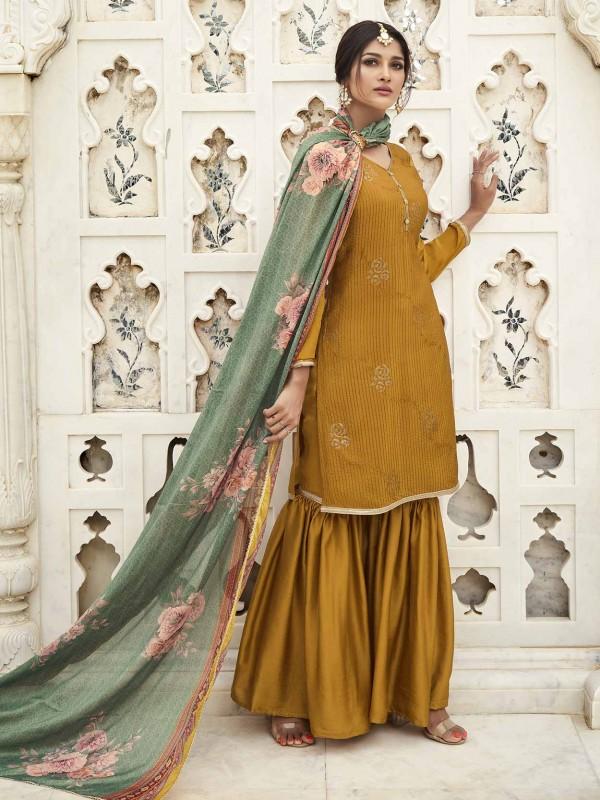 Yellow Colour in Silk Pakistani Salwar Suit.