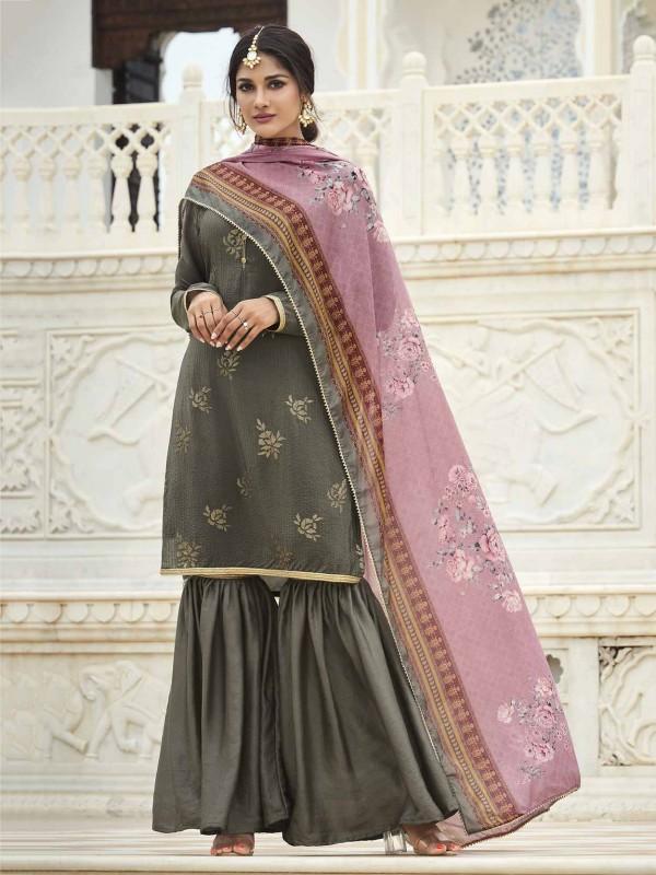 Brown,Grey Colour Silk Palazzo Salwar Suit.