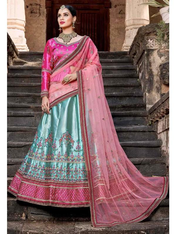 Blue,Pink Color Designer Lehenga Choli.