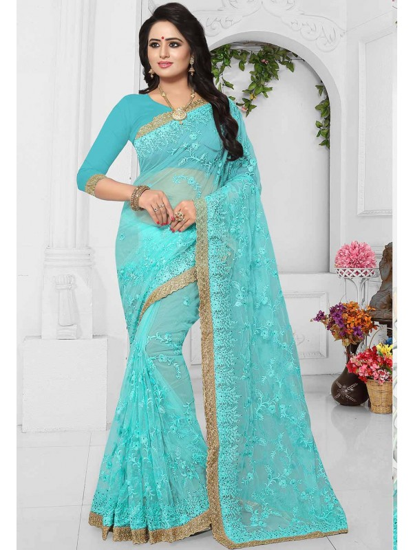 Turquoise Color Saree.
