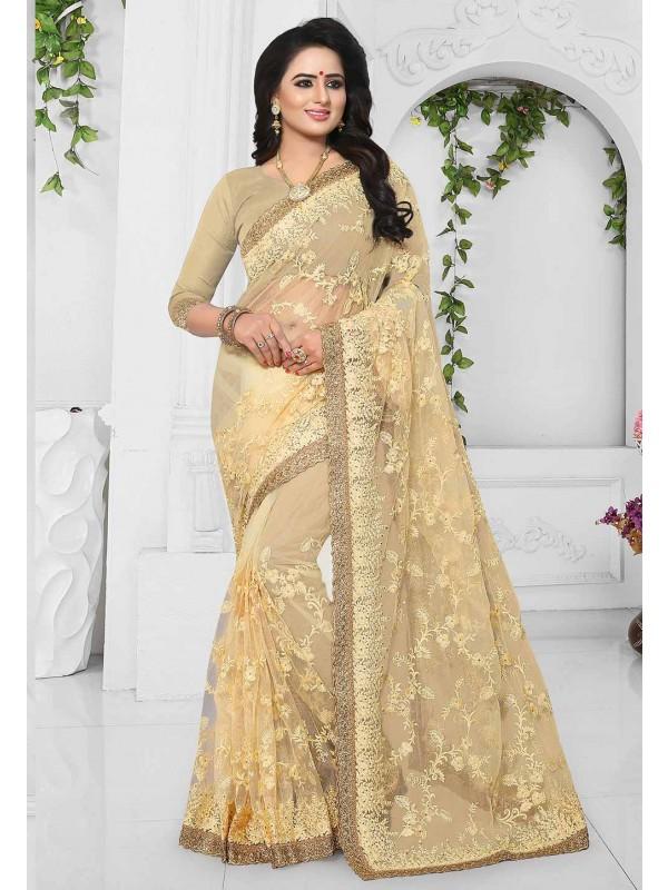 Yellow,Beige Color Designer Sari.