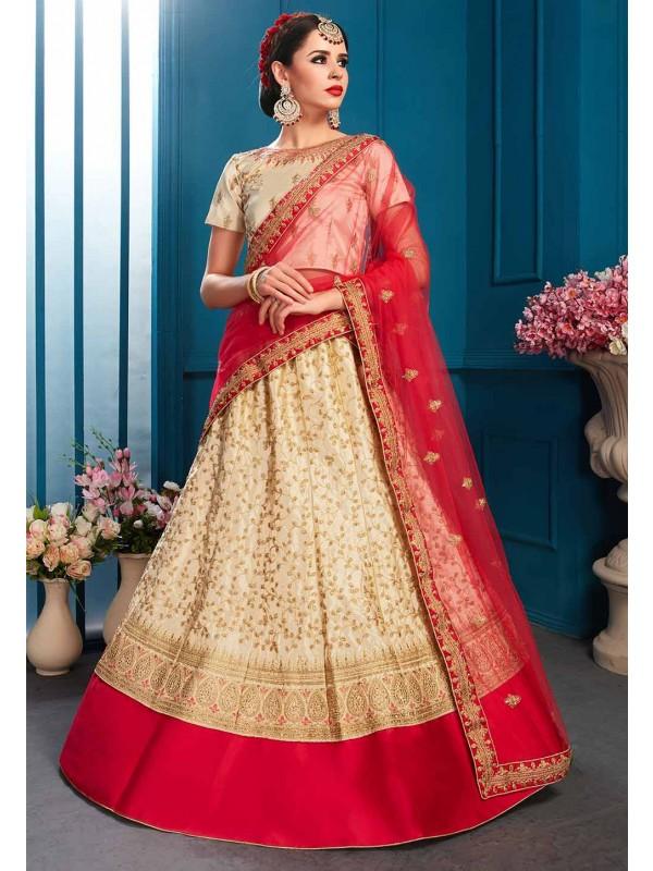 Beige Colour Indian Designer Lehenga.