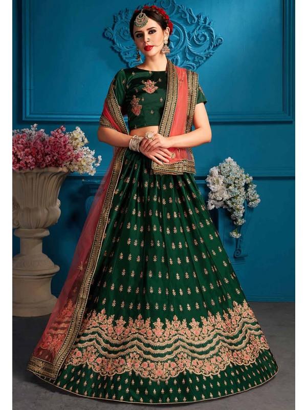 Green Colour Traditional Lehenga Choli.