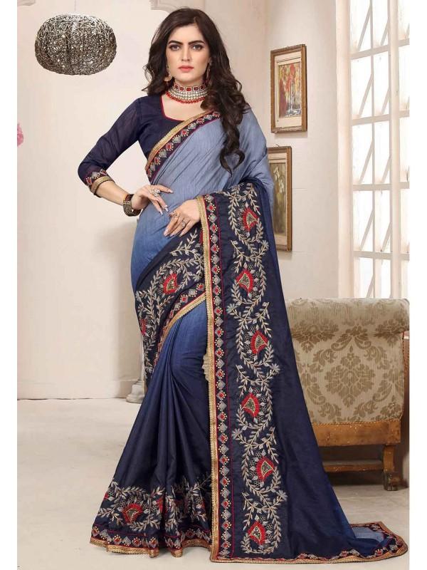 Blue Colour Party Wear Saree.