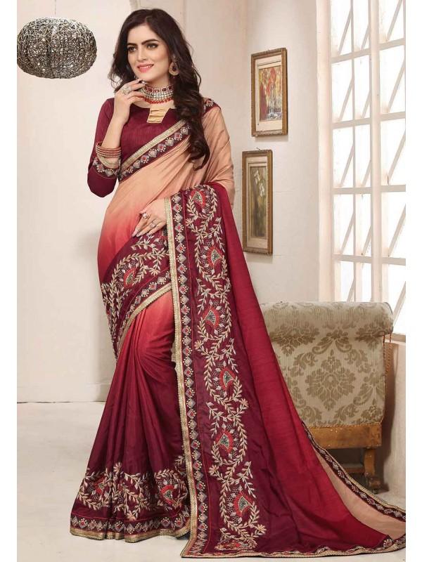 Red Colour Designer Sari.