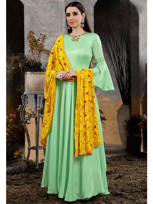 Green Women Indowestern Gown.