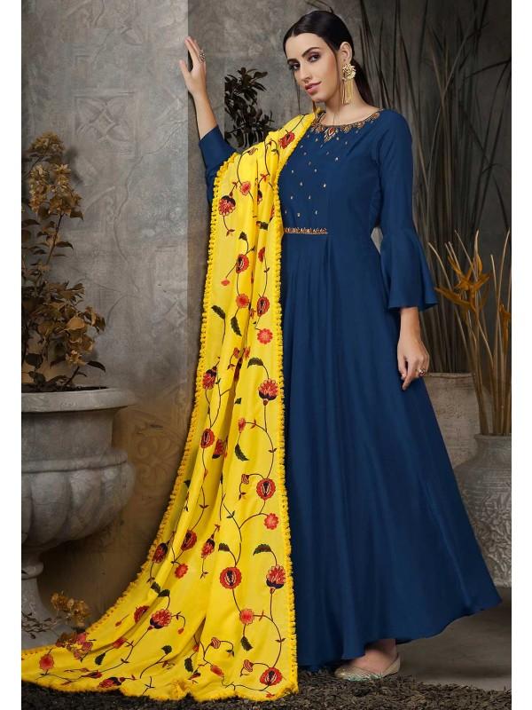 Blue Colour Designer Gown.