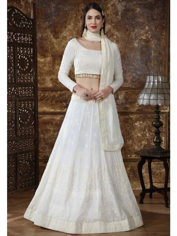 Off White Color Designer Lehenga Choli.
