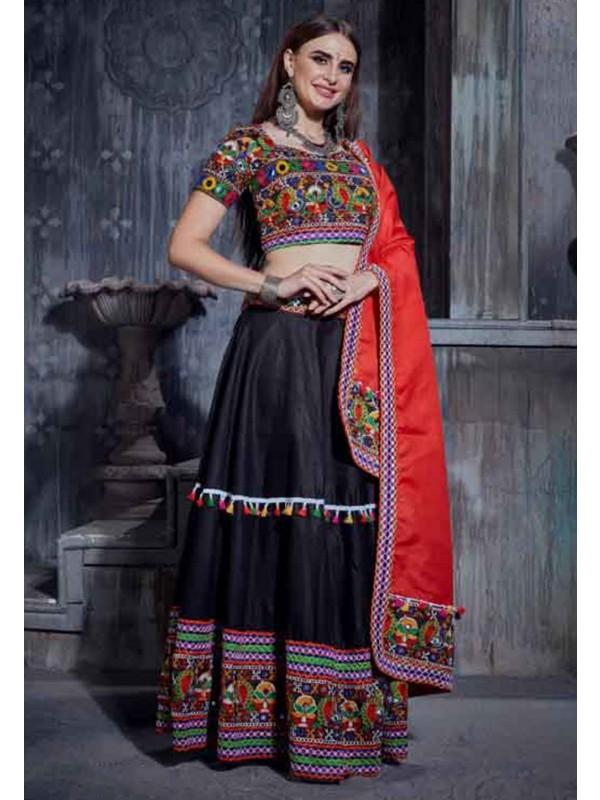 Black Colour Printed Lehenga Choli.