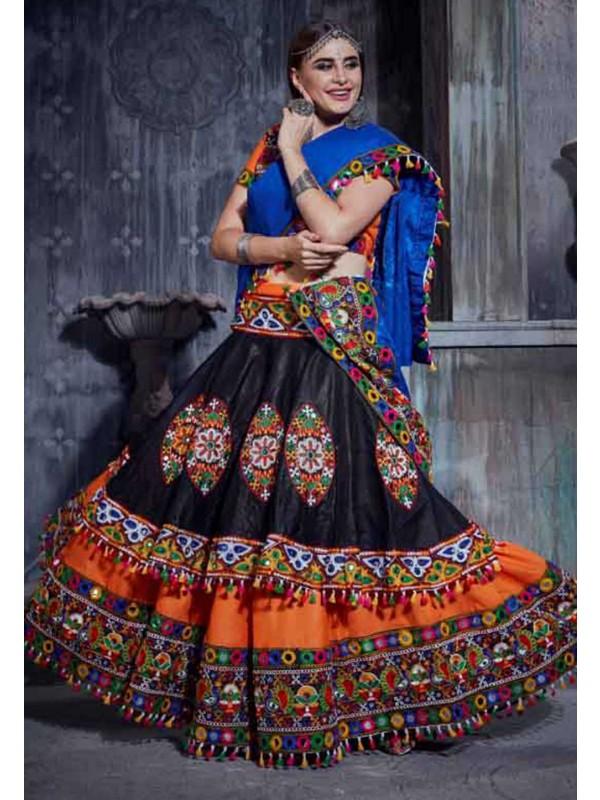 Orange Colour Indian Traditional Lehenga Choli.