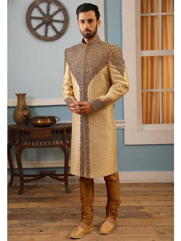 Brocade Silk Men's Designer Sherwani.