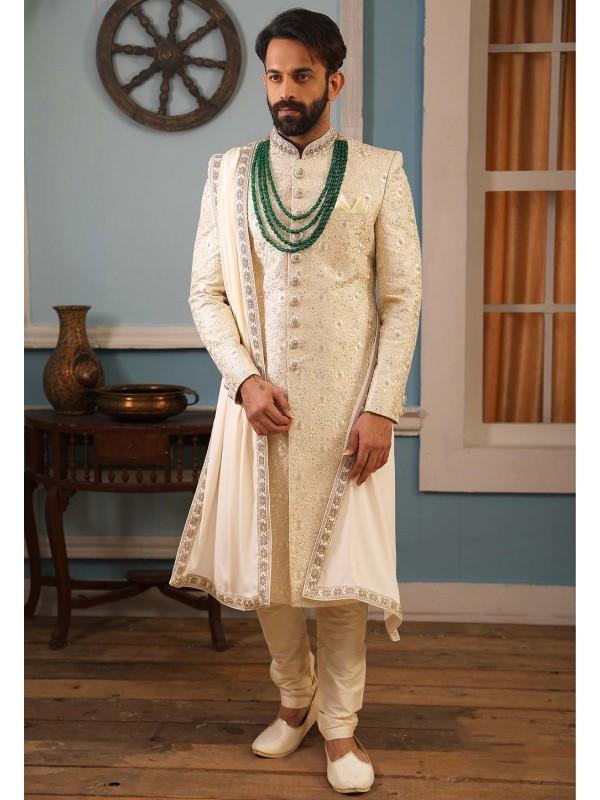 Cream Colour Party Wear Indowestern Sherwani.