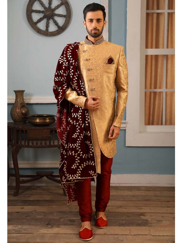 Golden Colour Indian Wedding Sherwani.