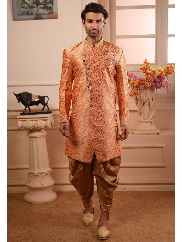 Peach Colour Brocade Silk Semi Indowestern.
