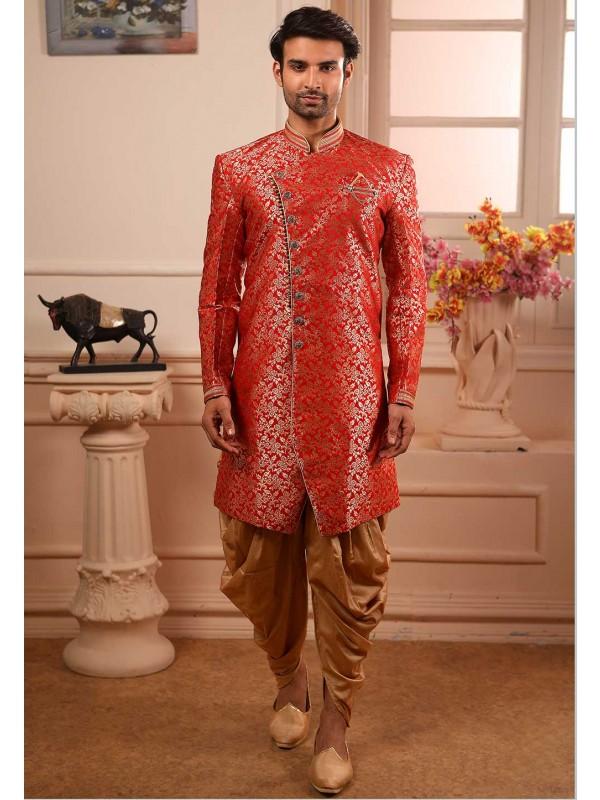 Maroon Colour Party Wear Semi Indowestern.