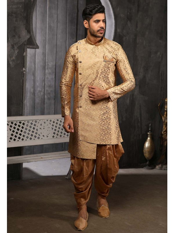 Golden Colour Party Wear Semi Indowestern.