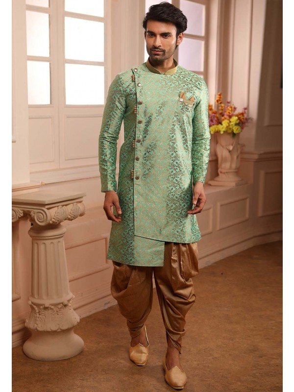 Green Colour Brocade Silk Semi Indowestern For Men's Wear.
