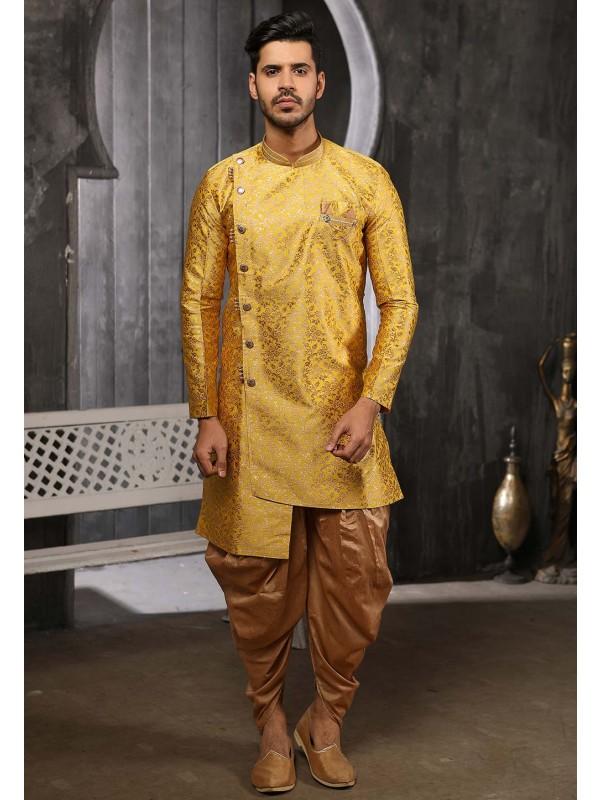 Yellow Colour Stylish Designer Semi Indowestern.