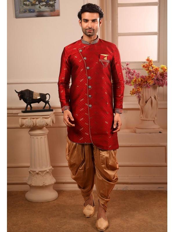 Maroon Colour Designer Semi Indowestern.