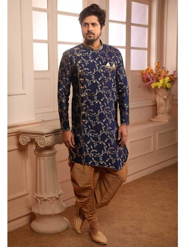 Party Wear Semi Indowestern Blue Colour.