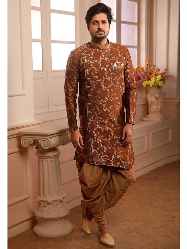 Brown Colour Men's Semi indowestern.