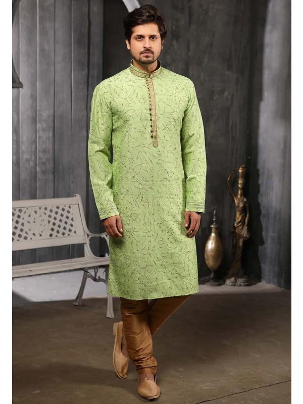 Party Wear Kurta Pajama In Green Colour.