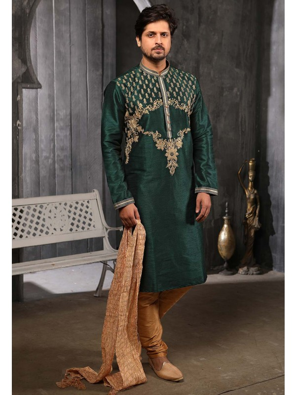 Green Colour Banarasi Silk Men's Wear Kurta Pajama.