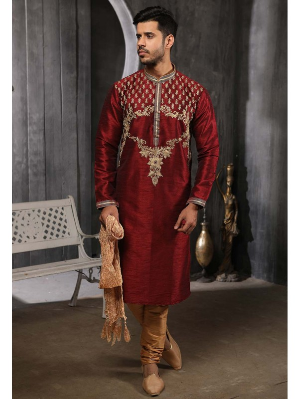 Wine Colour Indian Wedding Kurta Pajama.