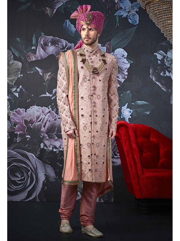 Pink Colour Designer Men's Sherwani.