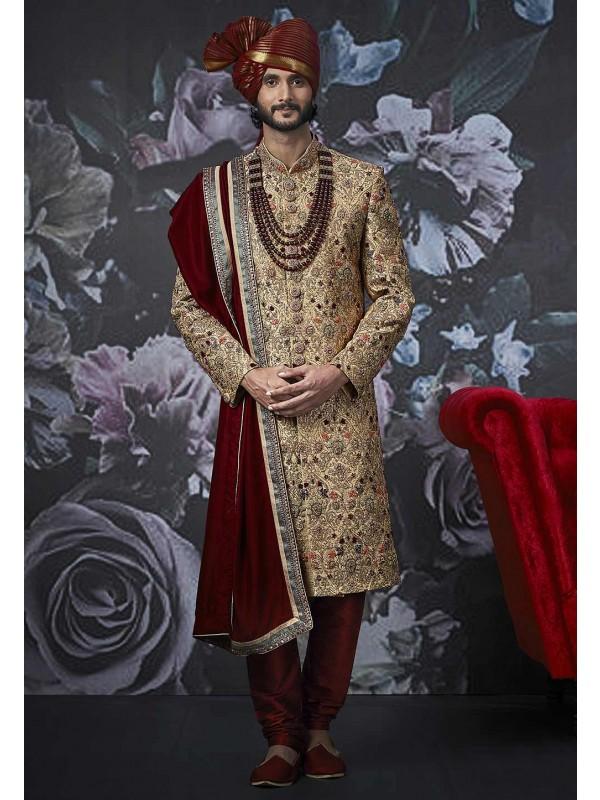 Golden Colour Indian Wedding Men's Sherwani.