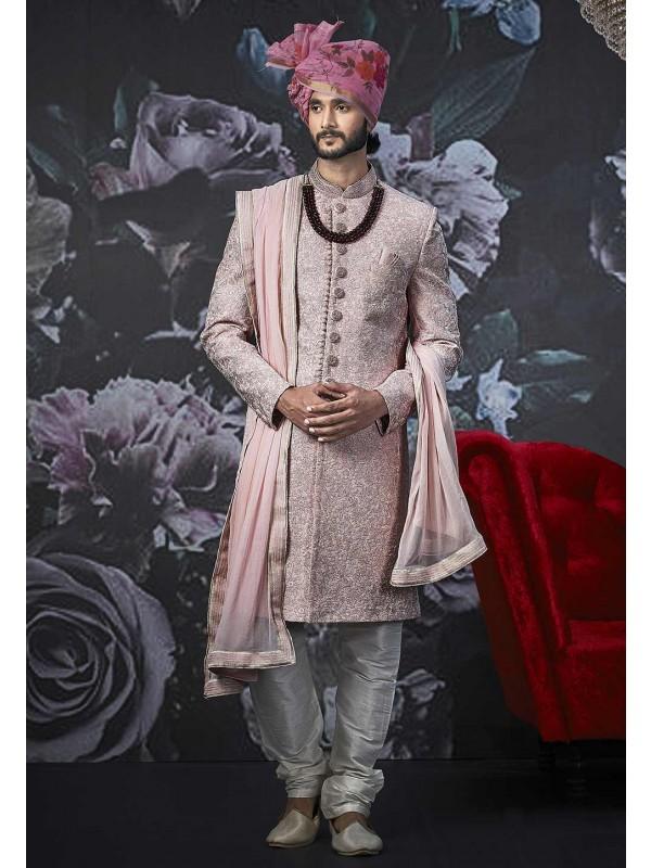 Pink Colour Sherwani for Groom.