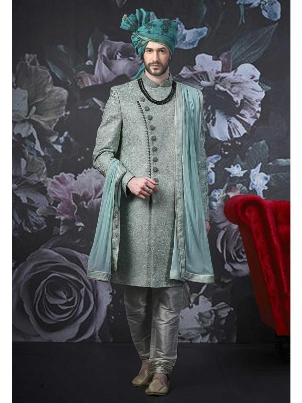 Green Colour Banarasi Silk Sherwani.