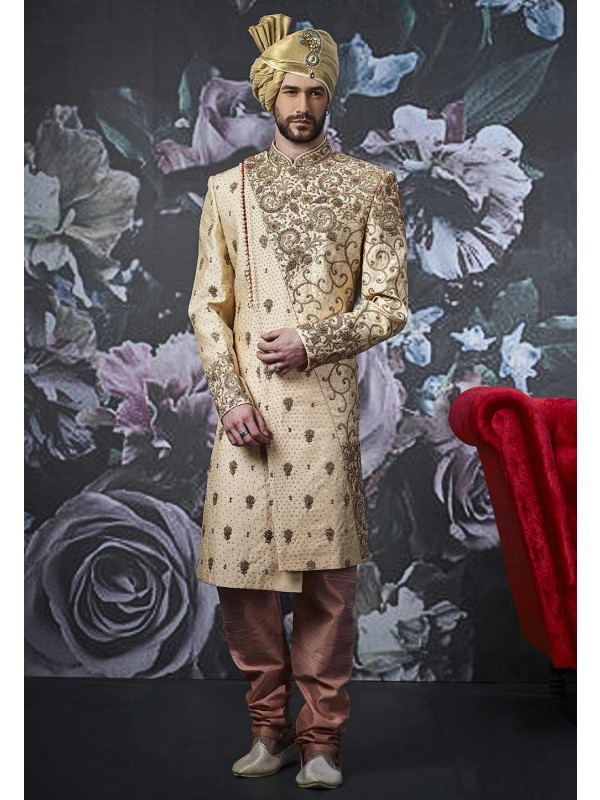 Golden Colour Men's Designer Sherwani.
