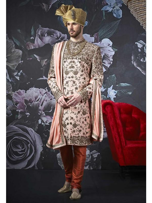 Pink Colour Men's Sherwani.