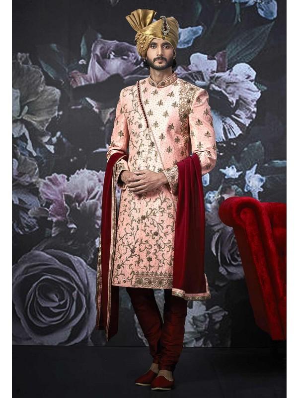 Pink Colour Art Banarasi  Silk Sherwani.