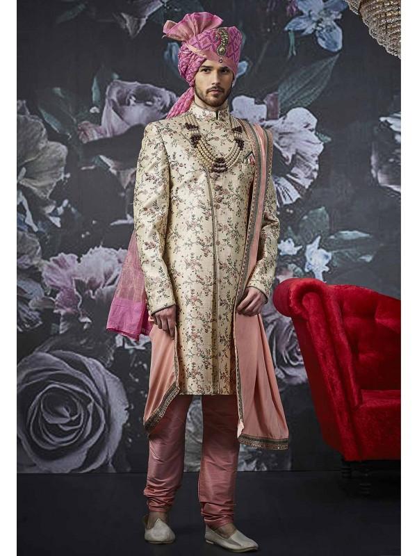 Beige Colour Men's Designer Sherwani.