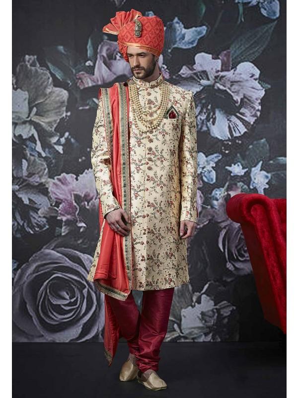 Beige Colour Indian Men's Wear Sherwani.