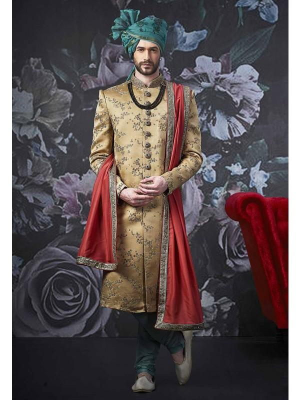 Designer Sherwani Golden Colour.